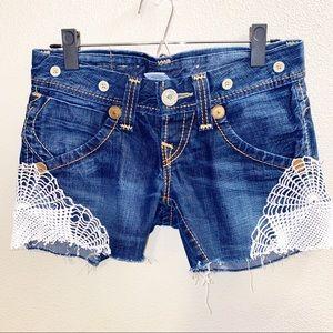 True Religion Shorts with Crochet Design Size 25